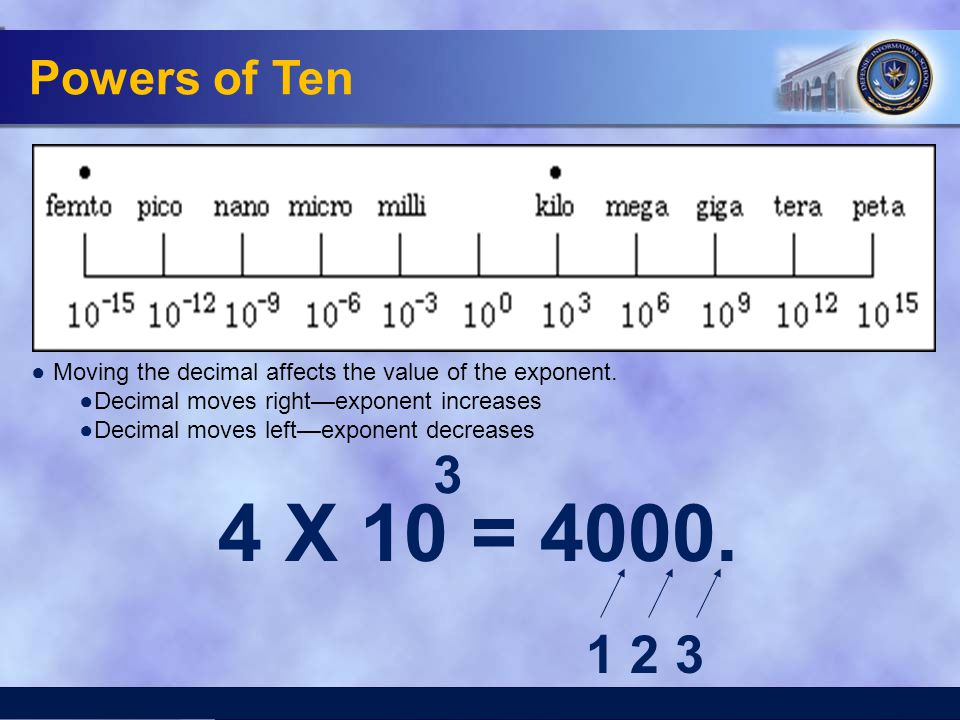 Powers of Ten Moving the decimal affects the value of the exponent. Decimal moves right—exponent increases.