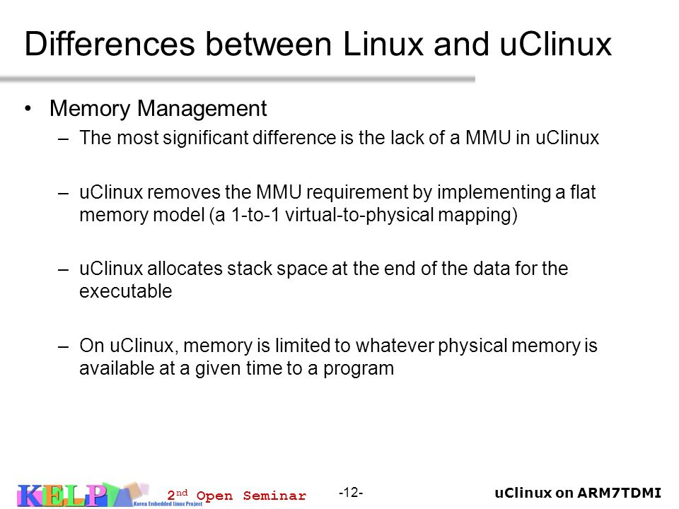 Differences between Linux and uClinux