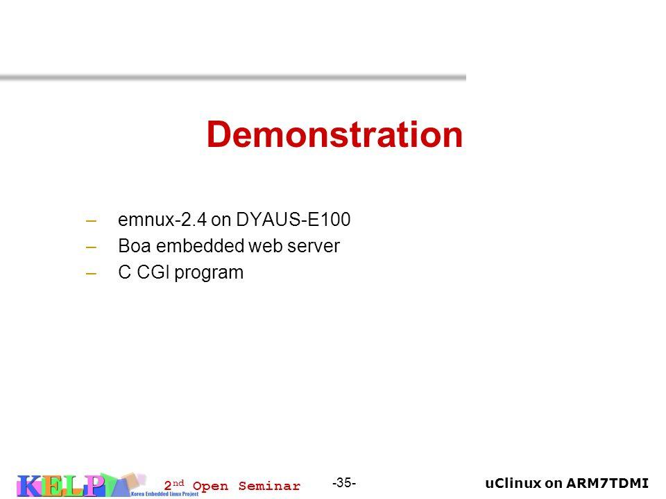 Demonstration emnux-2.4 on DYAUS-E100 Boa embedded web server