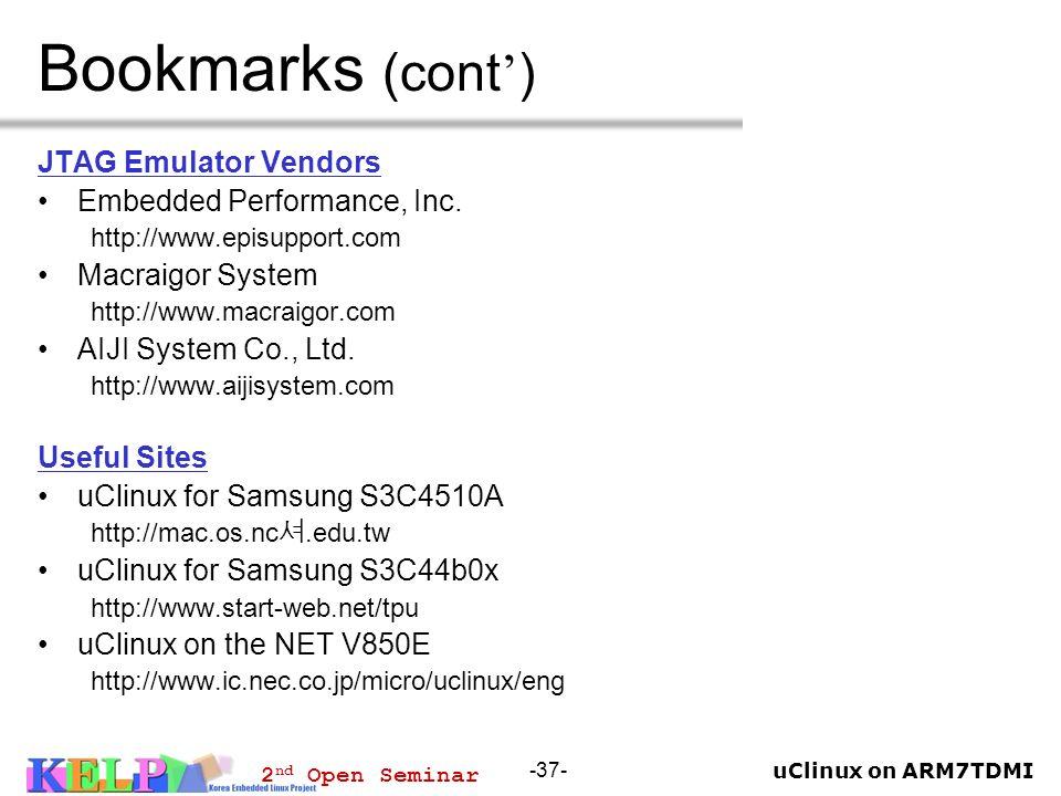 Bookmarks (cont') JTAG Emulator Vendors Embedded Performance, Inc.