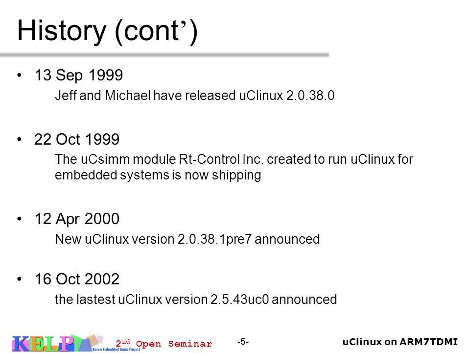 History (cont') 13 Sep 1999 22 Oct 1999 12 Apr 2000 16 Oct 2002