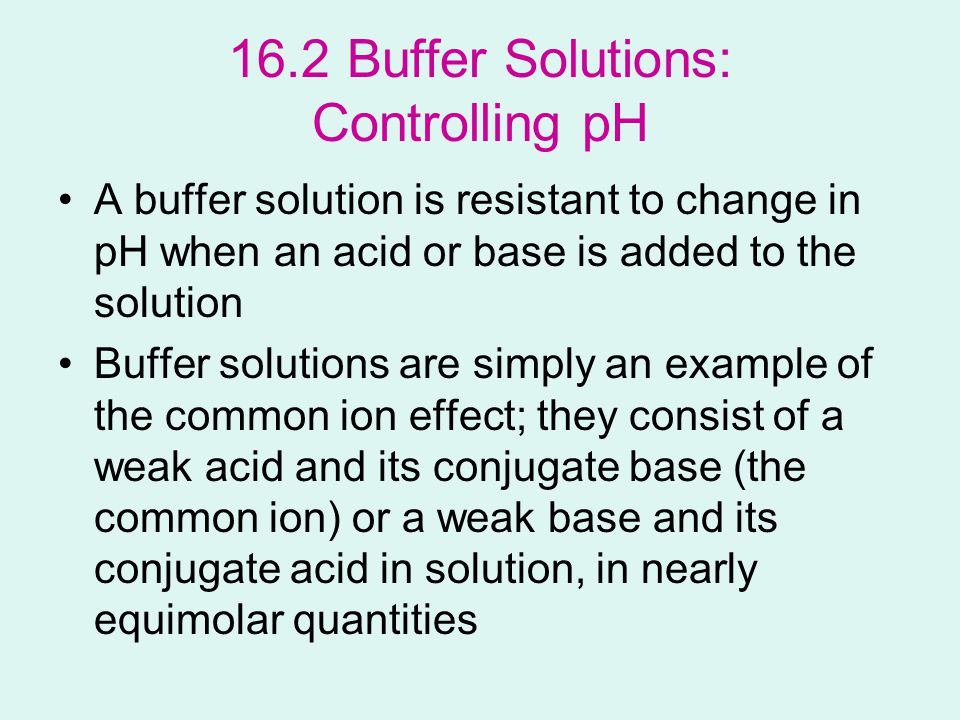 acid buffer solution Buffer solution as the conjugate base of acetic acid, a solution of sodium acetate and acetic acid can act as a buffer to keep a relatively constant ph level this.