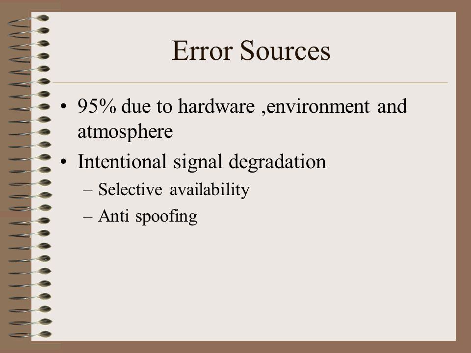 Error Sources 95% due to hardware ,environment and atmosphere