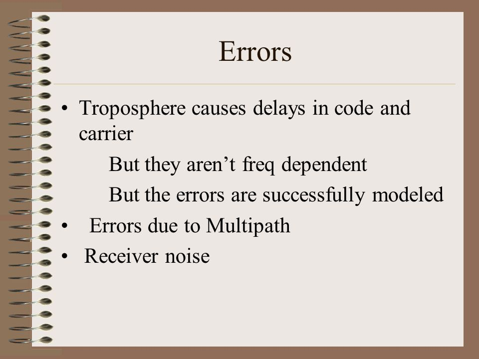 Errors Troposphere causes delays in code and carrier