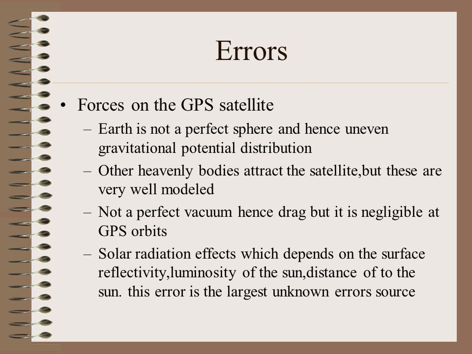 Errors Forces on the GPS satellite
