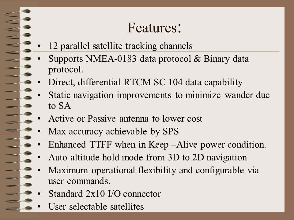 Features: 12 parallel satellite tracking channels