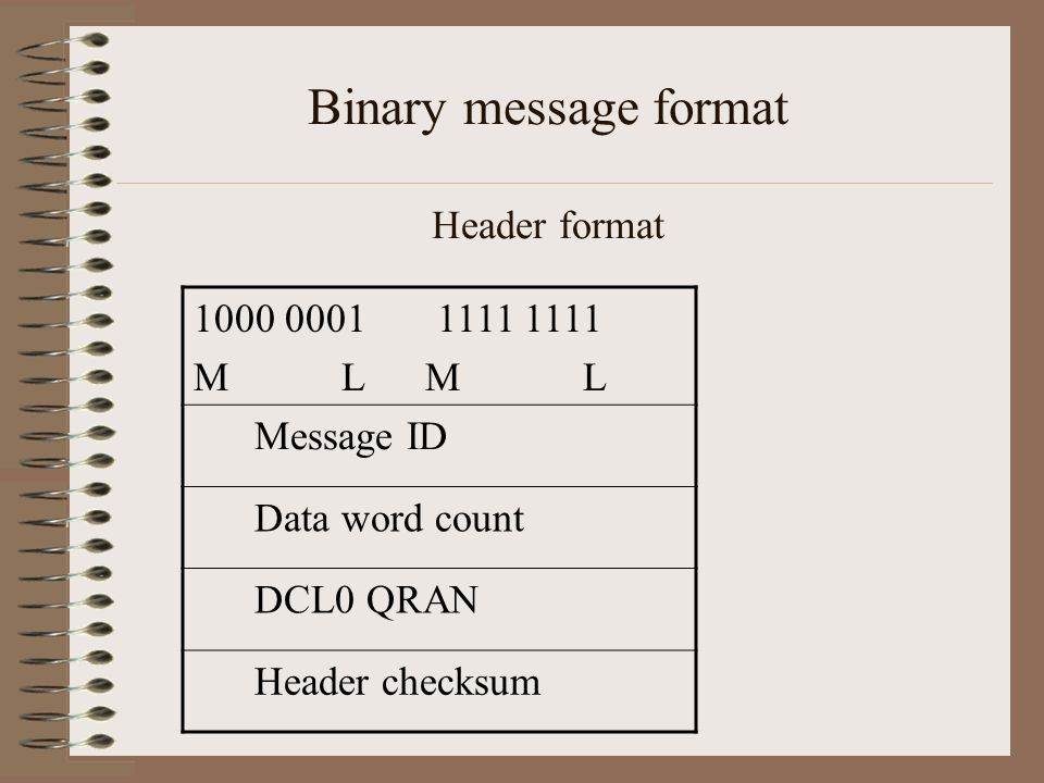 Binary message format Header format