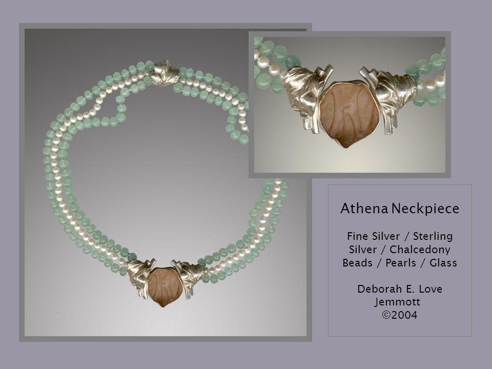 Athena Neckpiece Fine Silver / Sterling Silver / Chalcedony Beads / Pearls / Glass Deborah E.