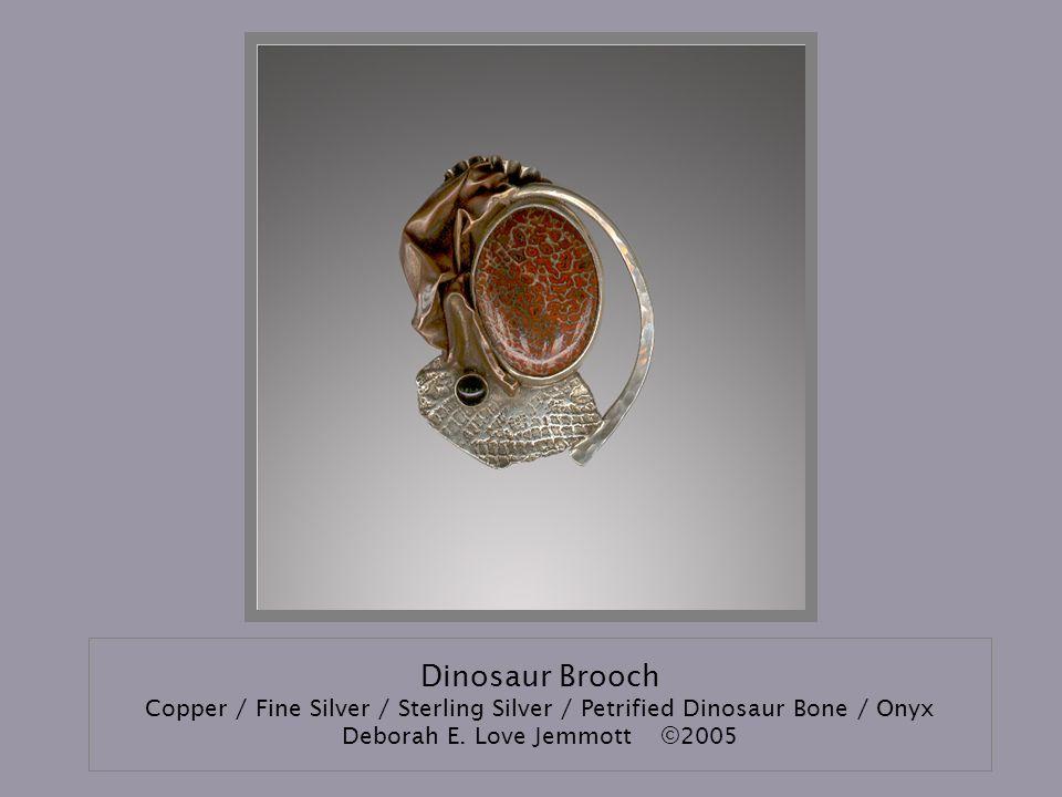 Dinosaur Brooch Copper / Fine Silver / Sterling Silver / Petrified Dinosaur Bone / Onyx Deborah E.