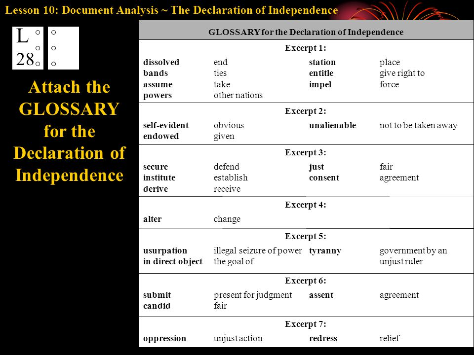 GLOSSARY for the Declaration of Independence