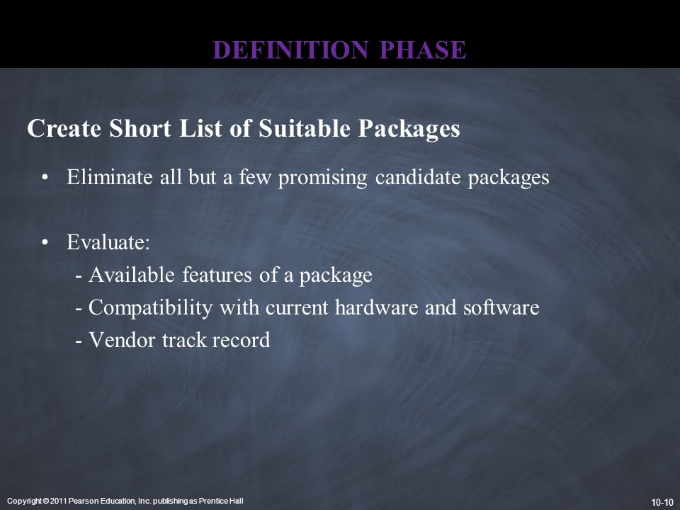 Create Short List of Suitable Packages
