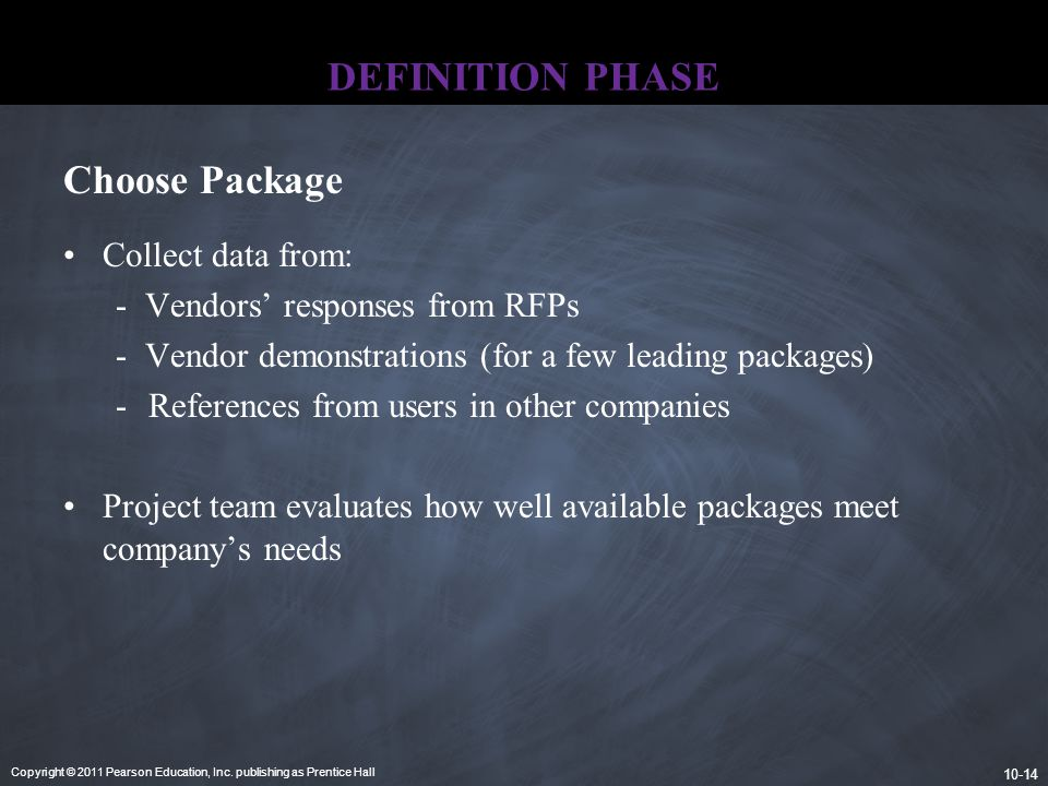 DEFINITION PHASE Choose Package Collect data from:
