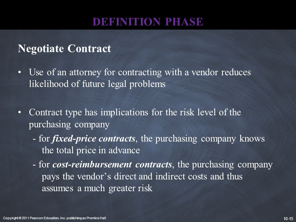 DEFINITION PHASE Negotiate Contract