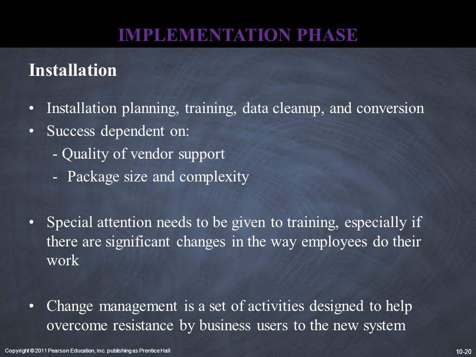 IMPLEMENTATION PHASE Installation