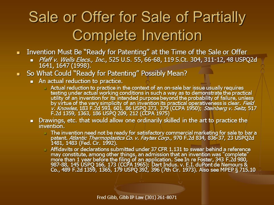 Sale or Offer for Sale of Partially Complete Invention
