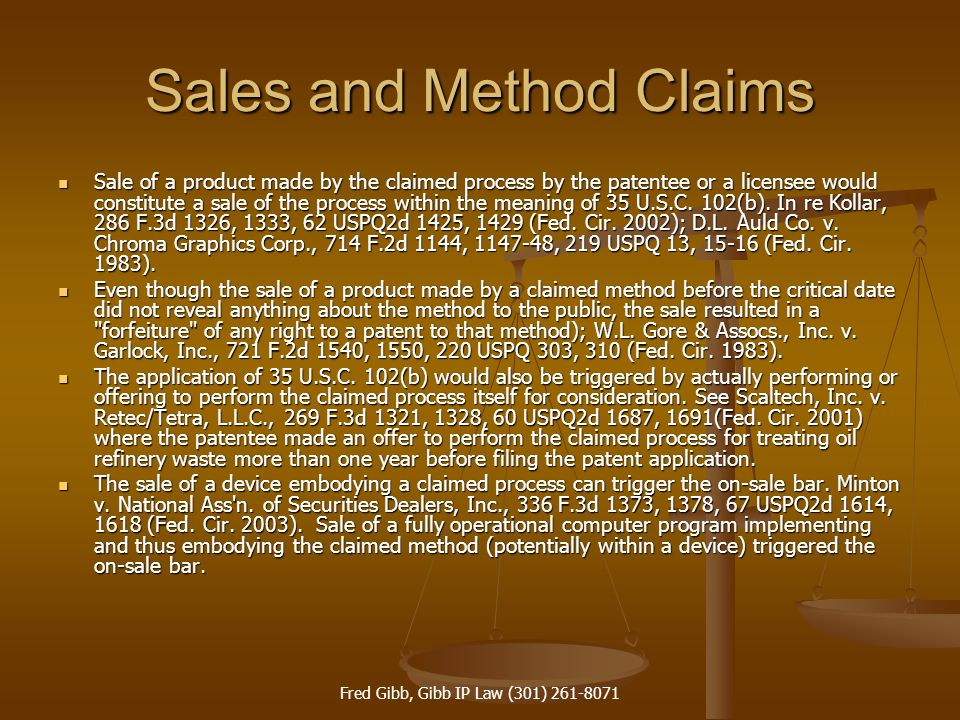 Sales and Method Claims