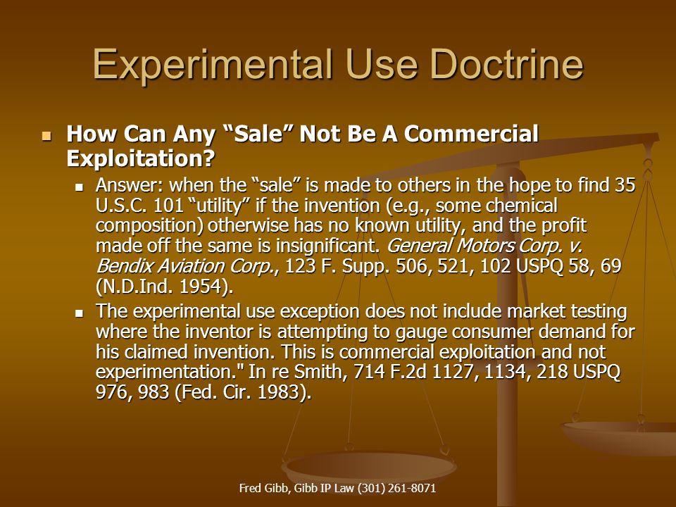 Experimental Use Doctrine