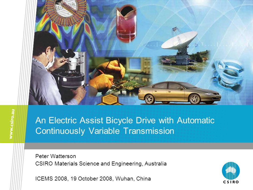 An Electric Assist Bicycle Drive with Automatic Continuously Variable Transmission