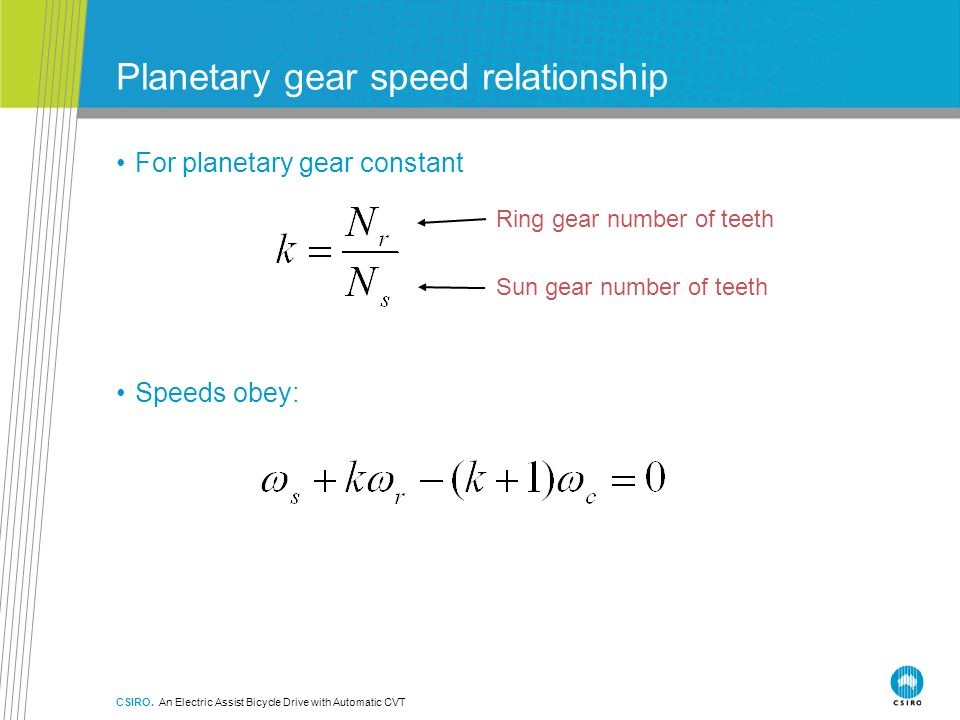 Planetary gear speed relationship