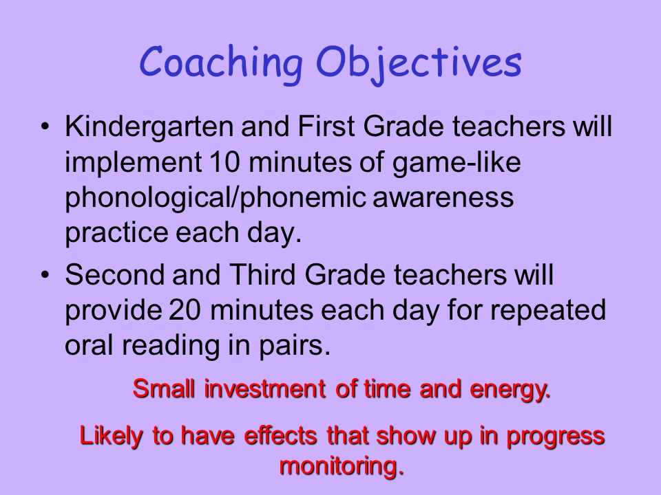 Coaching Objectives Kindergarten and First Grade teachers will implement 10 minutes of game-like phonological/phonemic awareness practice each day.