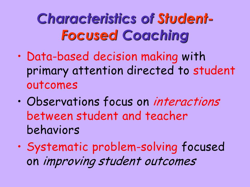 Characteristics of Student-Focused Coaching