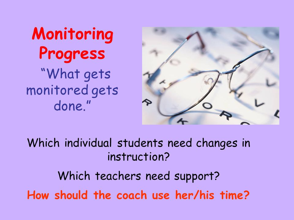 Monitoring Progress What gets monitored gets done.