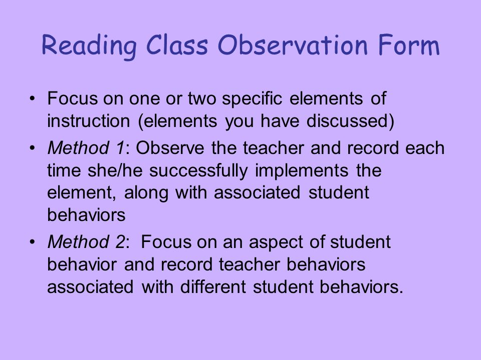 Reading Class Observation Form
