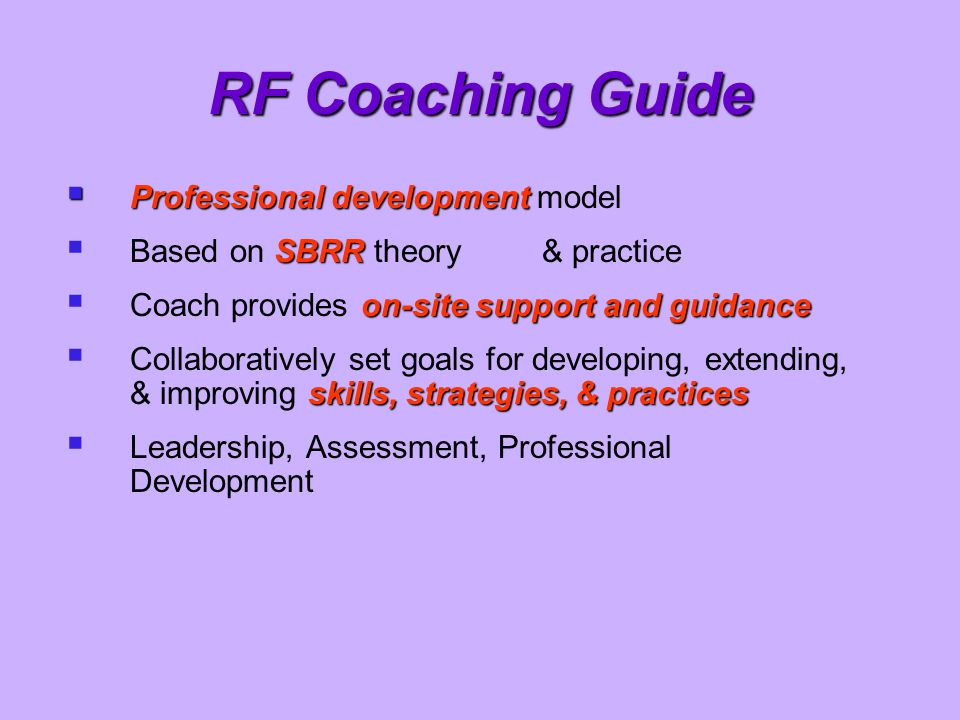 RF Coaching Guide Professional development model
