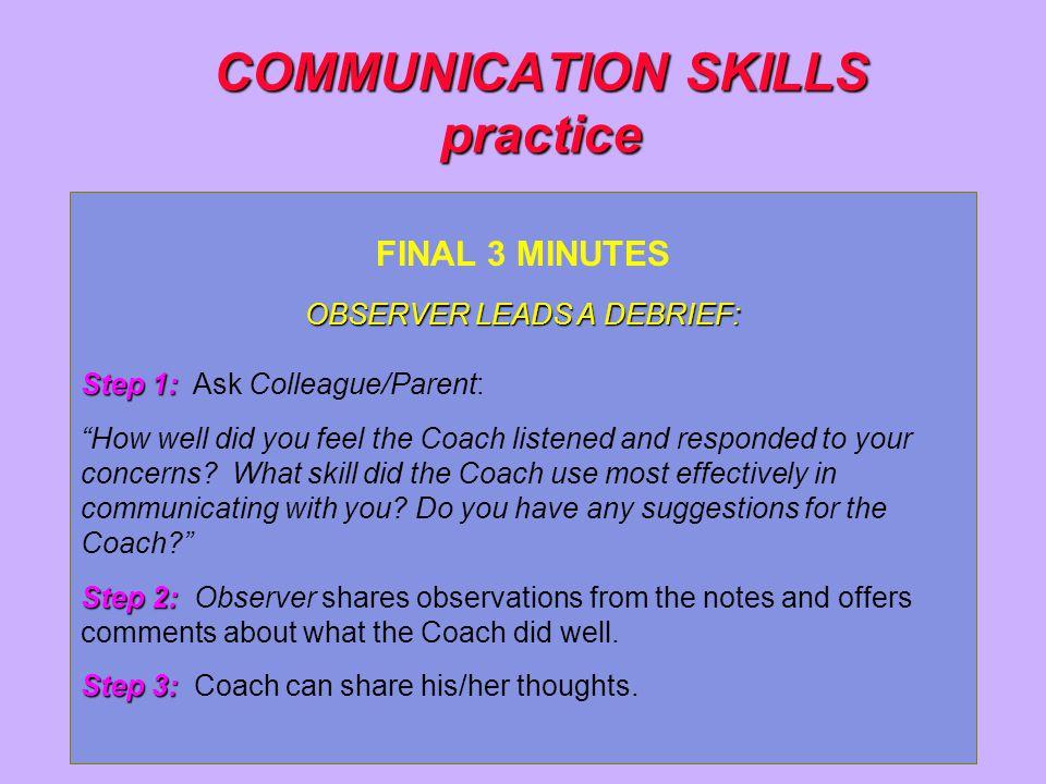 COMMUNICATION SKILLS practice