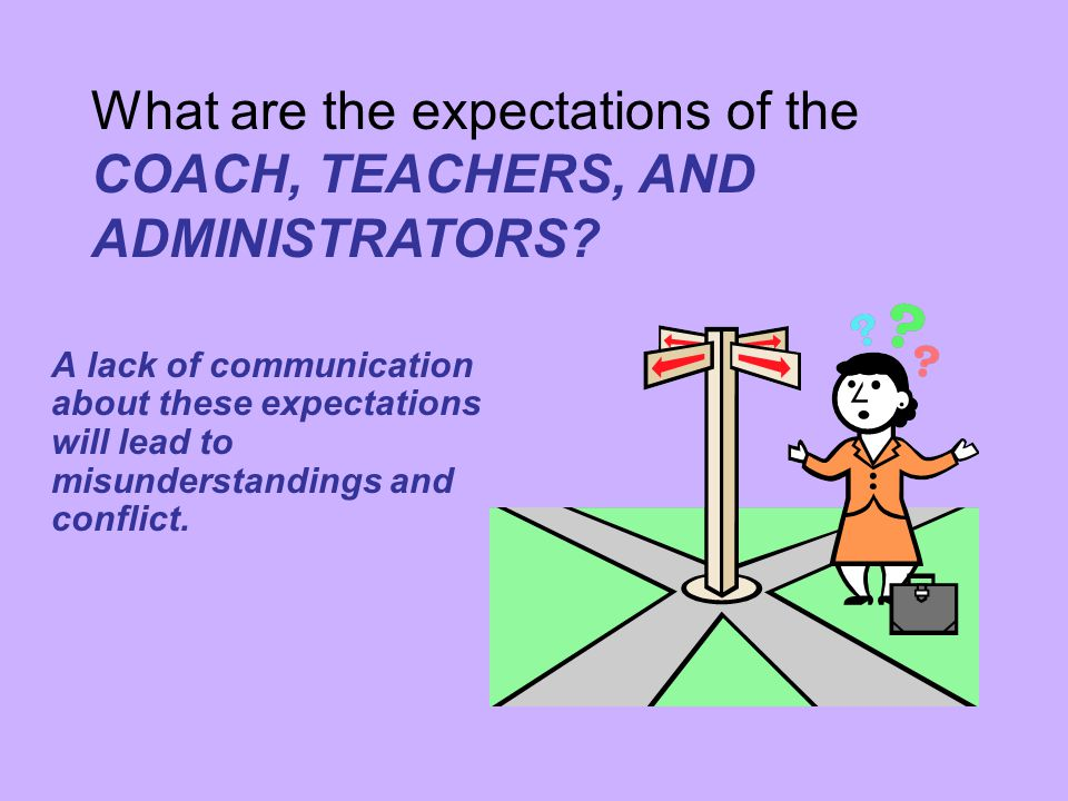 What are the expectations of the COACH, TEACHERS, AND ADMINISTRATORS