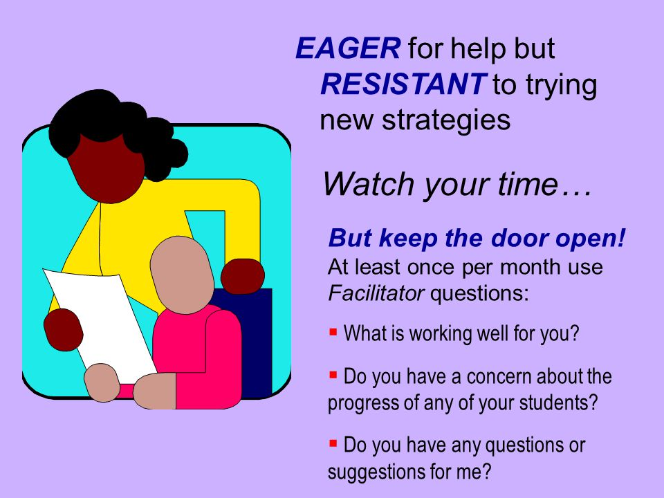 Watch your time… EAGER for help but RESISTANT to trying new strategies