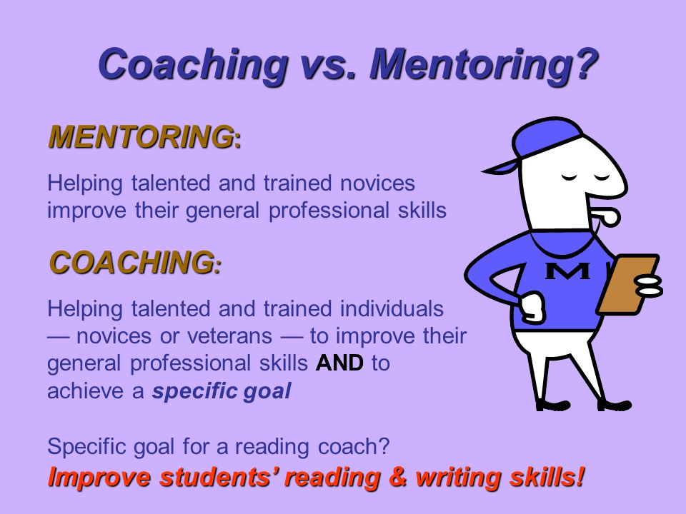 Coaching vs. Mentoring MENTORING: COACHING: