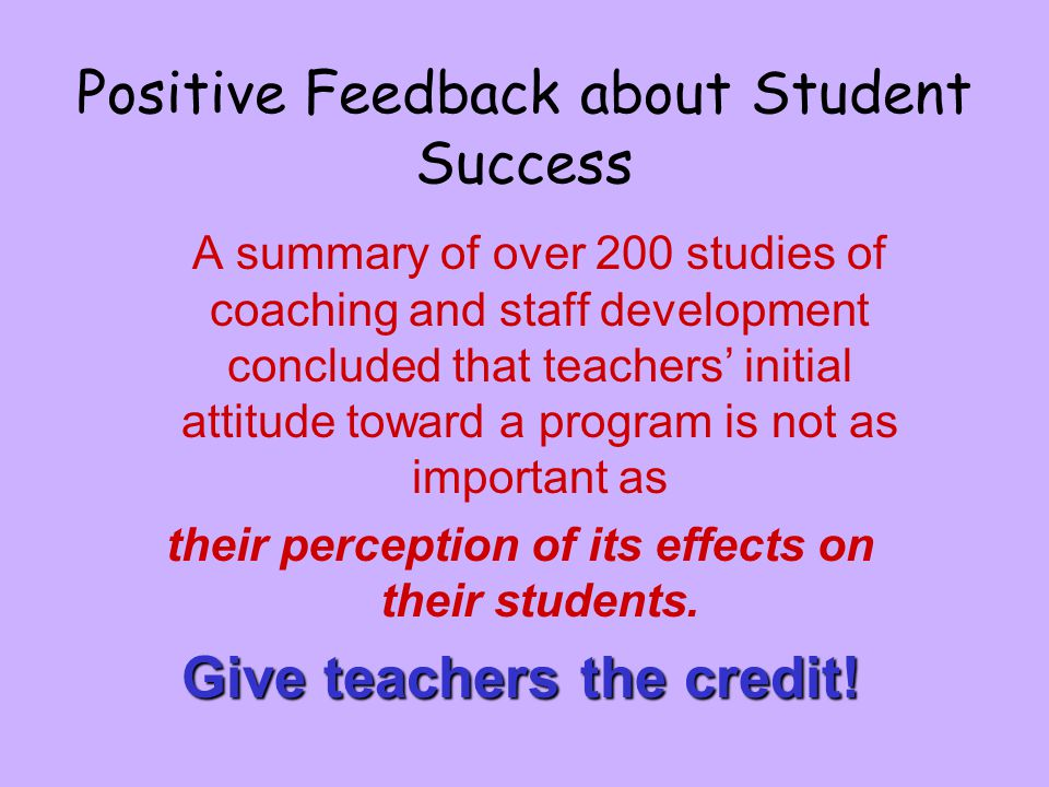 Positive Feedback about Student Success