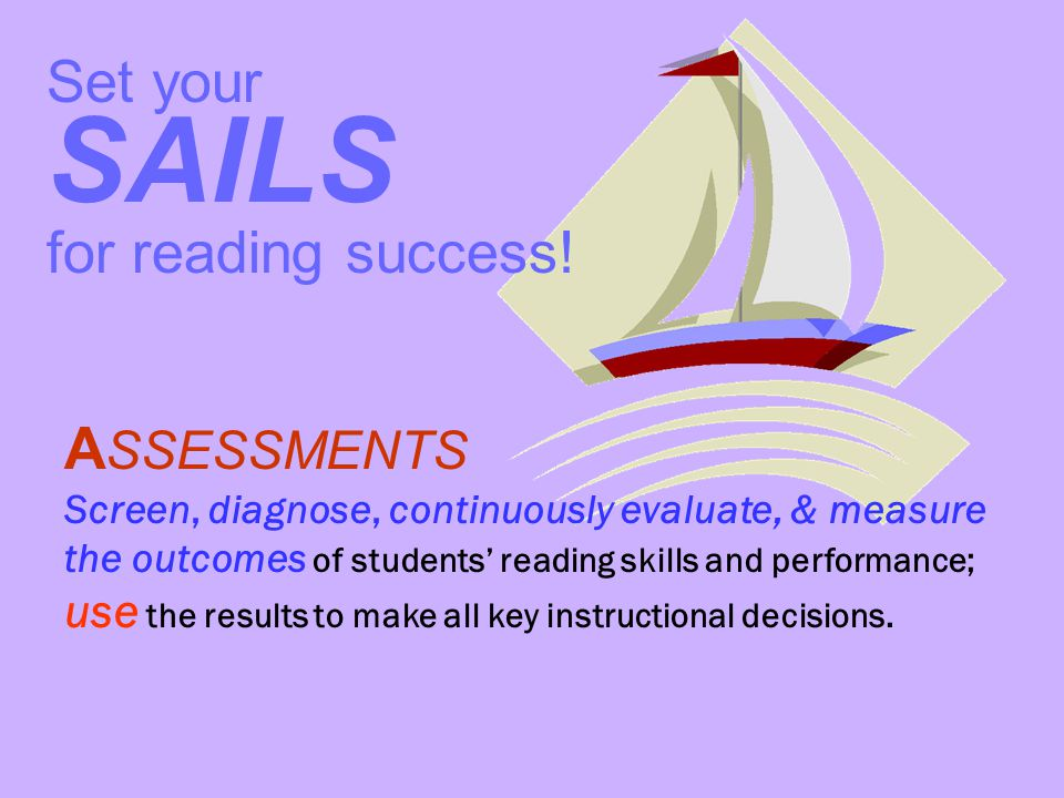 SAILS Set your for reading success! ASSESSMENTS
