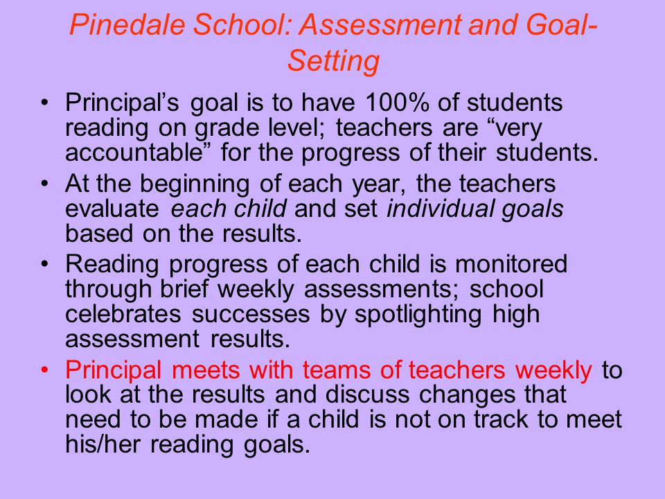 Pinedale School: Assessment and Goal-Setting