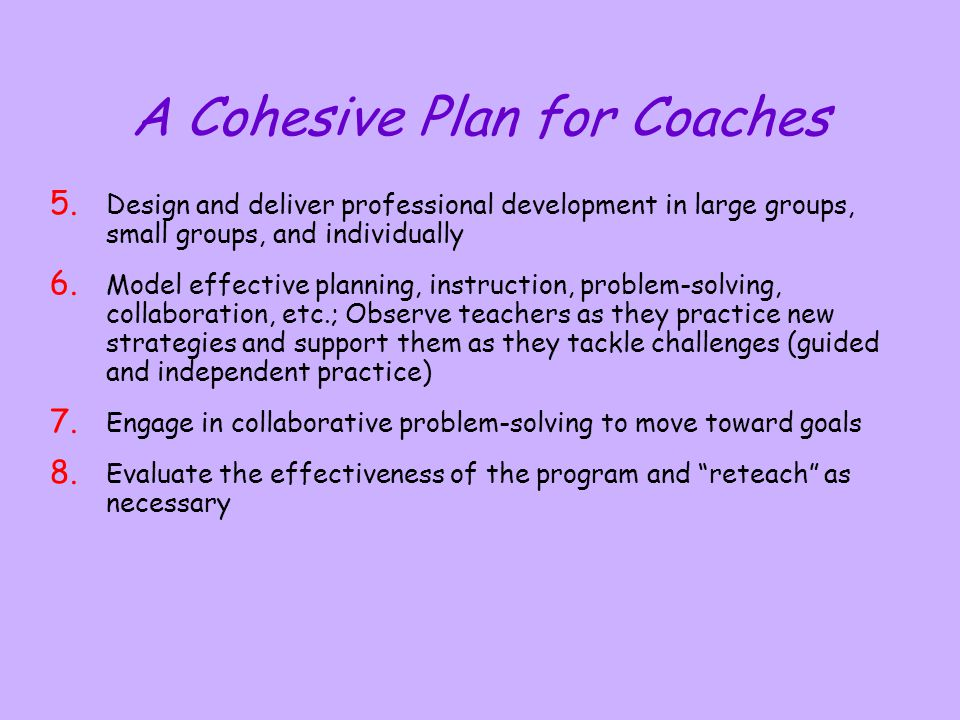 A Cohesive Plan for Coaches