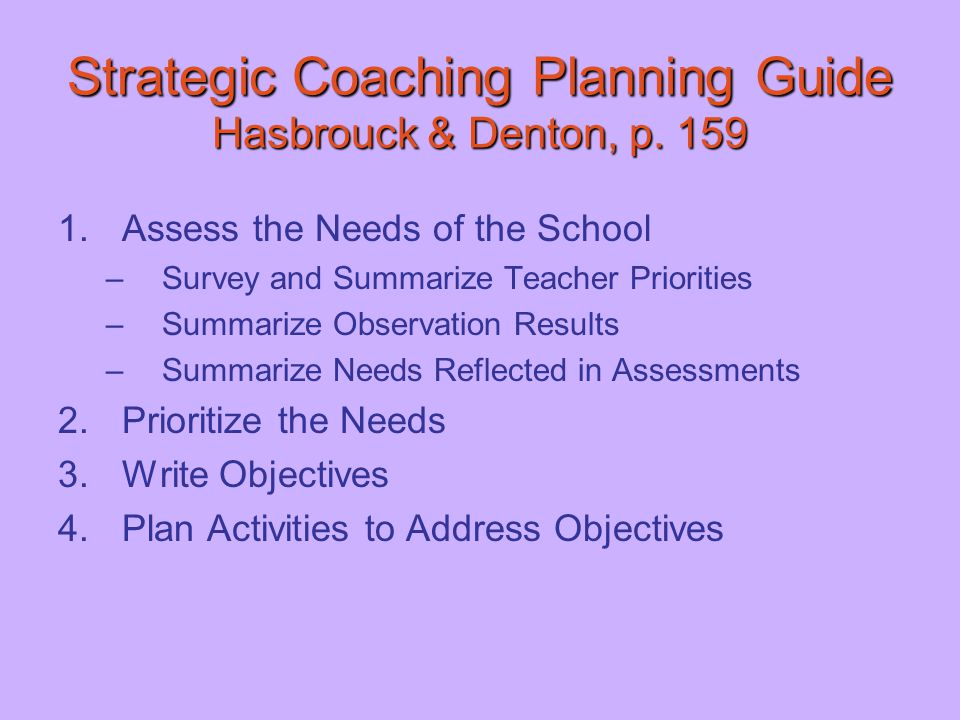 Strategic Coaching Planning Guide Hasbrouck & Denton, p. 159