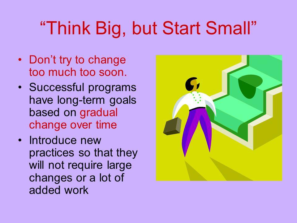 Think Big, but Start Small