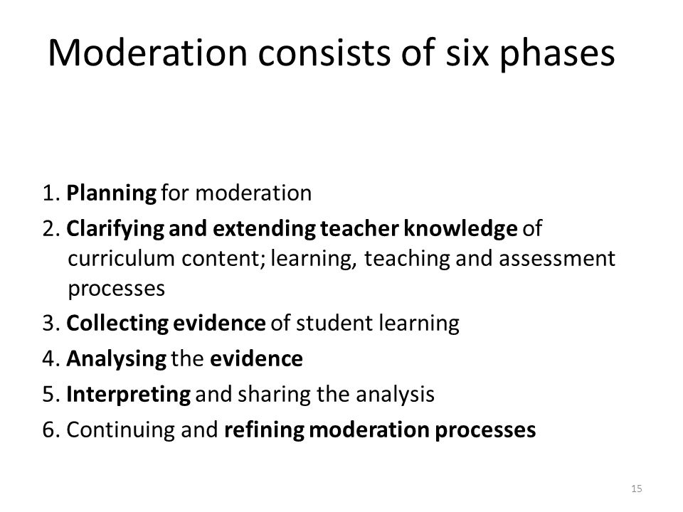 Moderation consists of six phases