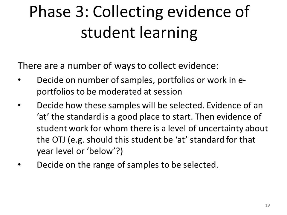 Phase 3: Collecting evidence of student learning