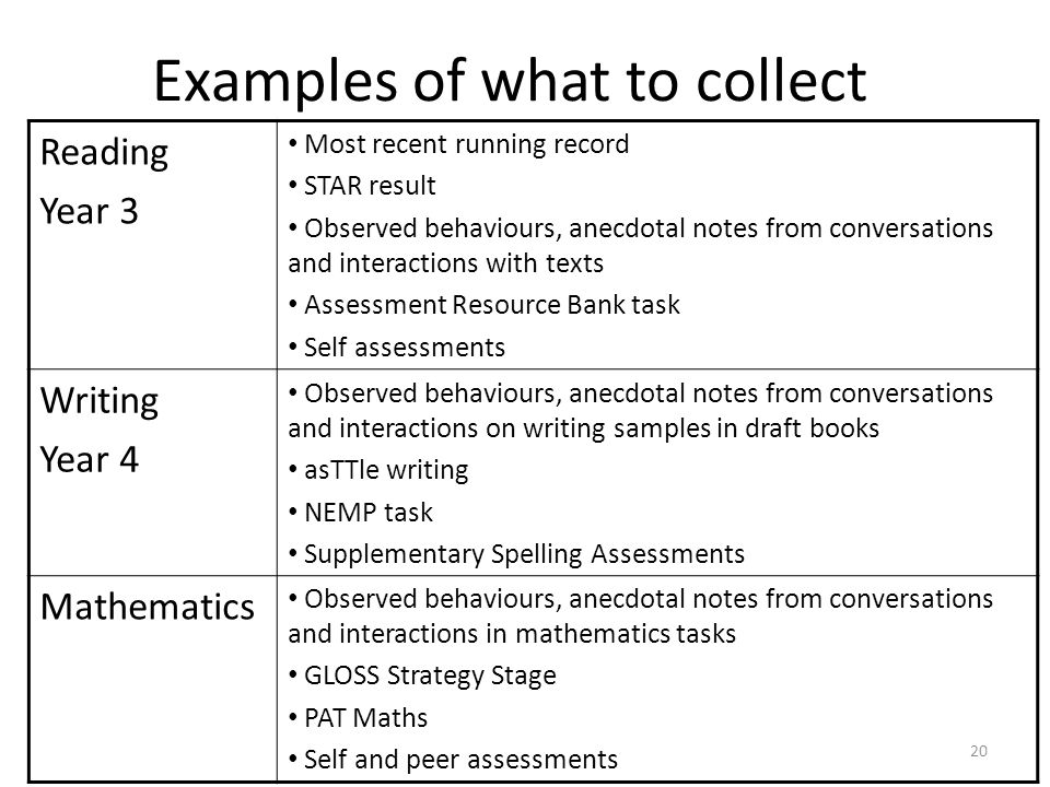 Examples of what to collect