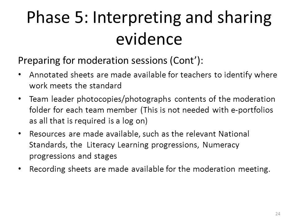 Phase 5: Interpreting and sharing evidence