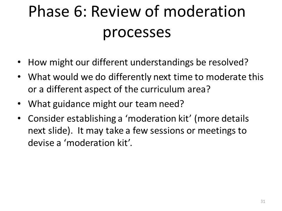 Phase 6: Review of moderation processes