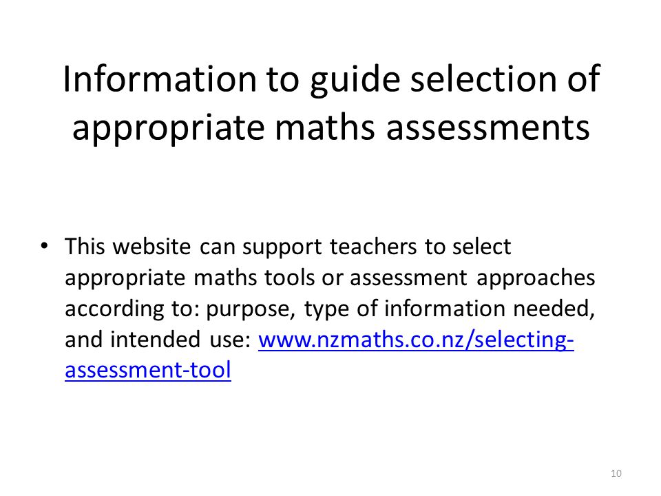 Information to guide selection of appropriate maths assessments