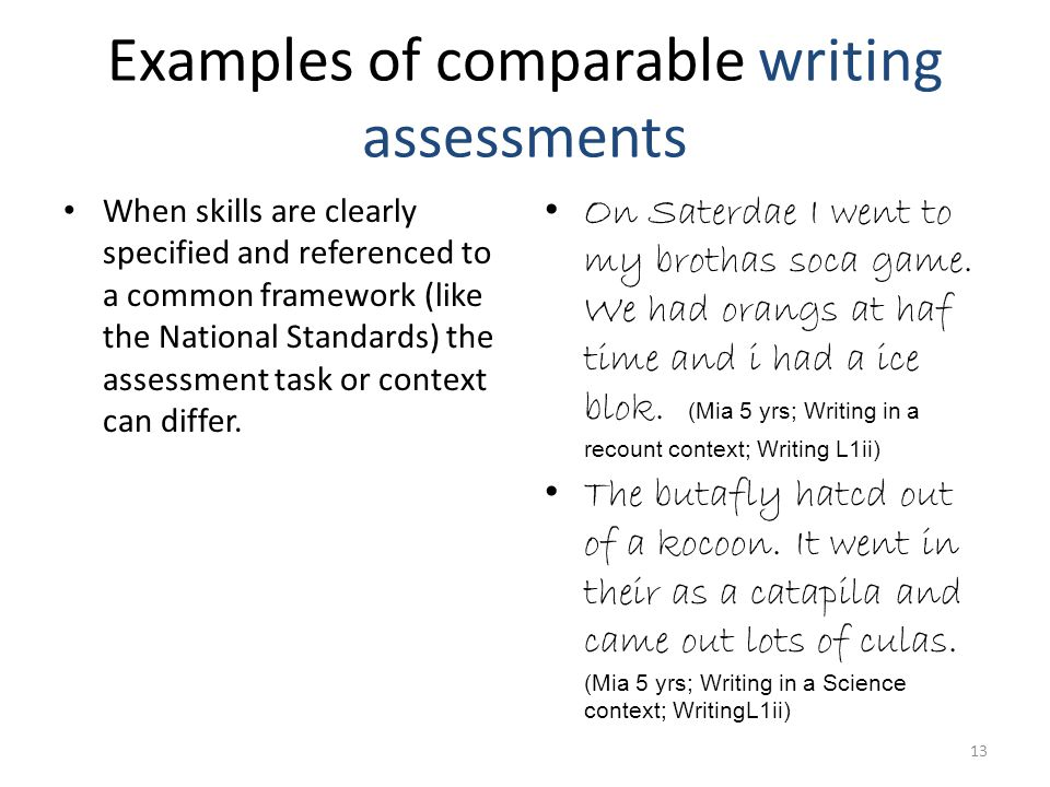 Examples of comparable writing assessments