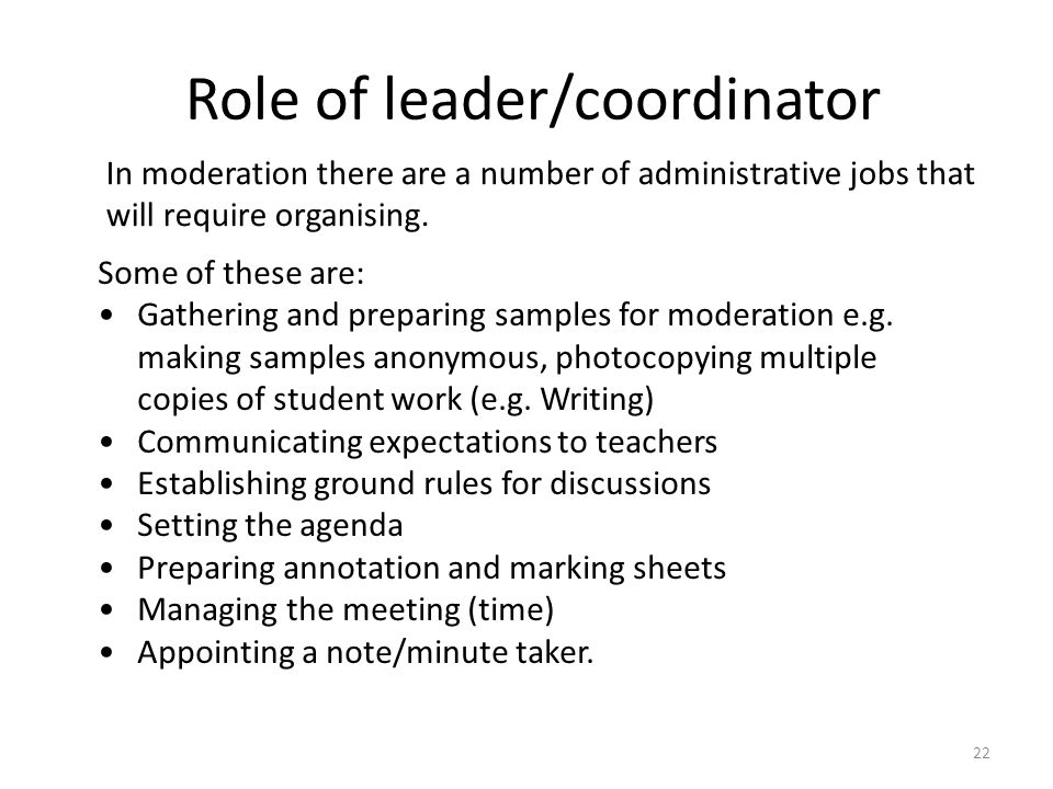Role of leader/coordinator