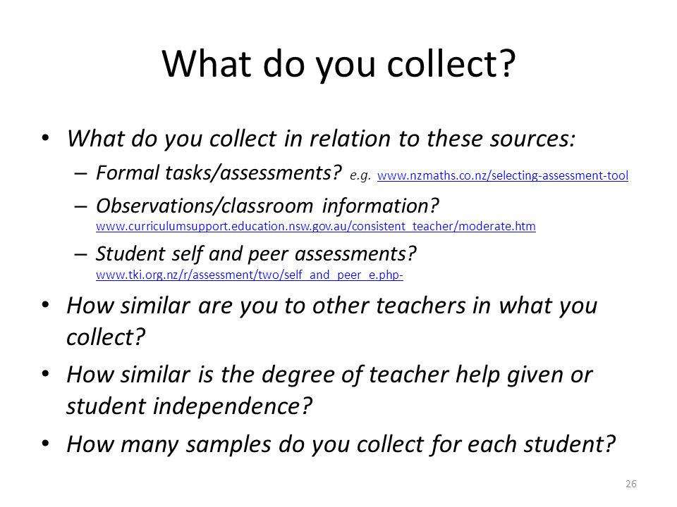 What do you collect What do you collect in relation to these sources: