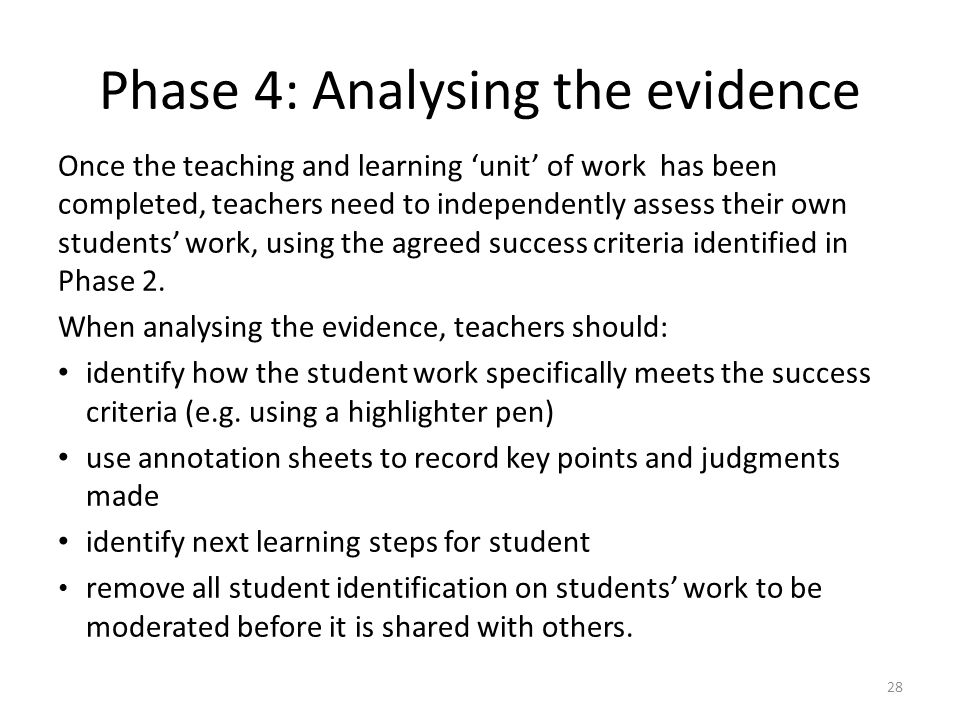 Phase 4: Analysing the evidence