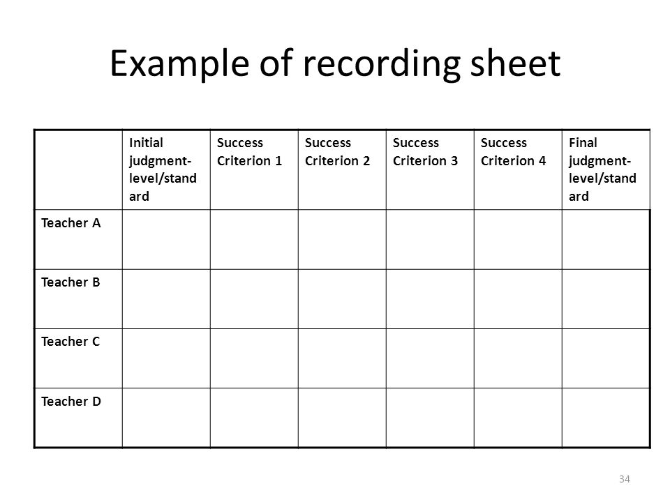 Example of recording sheet