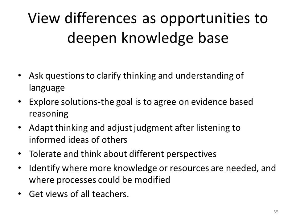 View differences as opportunities to deepen knowledge base